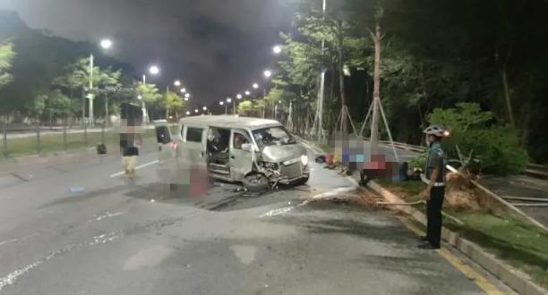 视频曝光!深圳一8座面包车径直撞倒绿化树,车内竟塞了……